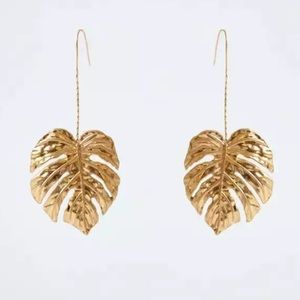 Gold Monstera Leaf chain Drop Earrings